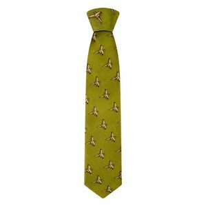 Hoggs of Fife Silk Country Tie - Flying Pheasants - Gold