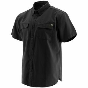 Caterpillar Button Up Short-Sleeved Shirt in Black