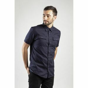 Caterpillar Button Up Short-Sleeved Shirt in Navy