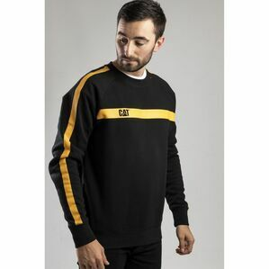 Caterpillar Icon Stripe Crew Neck Sweater in Black/Yellow