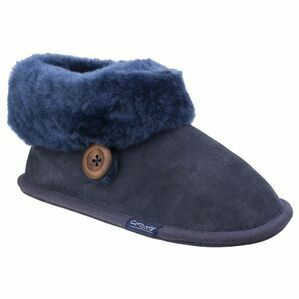 Cotswold Wotton Sheepskin Bootie Slipper in Dark Blue