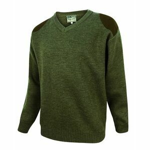 Hoggs of Fife Melrose V-Neck Hunting Pullover in Loden