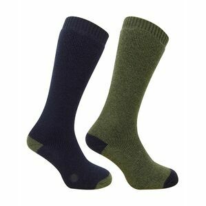 Hoggs of Fife 1903 Country Long Socks in Dark Green/Dark Navy (Twin Pack)