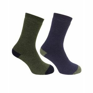 Hoggs of Fife 1904 Country Short Socks in Dark Green/Dark Navy (Twin Pack)