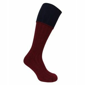 Hoggs of Fife Contrast Turnover Top Socks in Burgundy/Navy (1 pack)