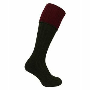 Hoggs of Fife Contrast Turnover Top Socks in Dark Green/Burgundy (1 pack)