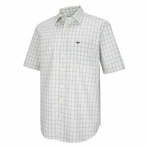 Hoggs of Fife Muirfield Short Sleeve Shirt in Brown/Green Check