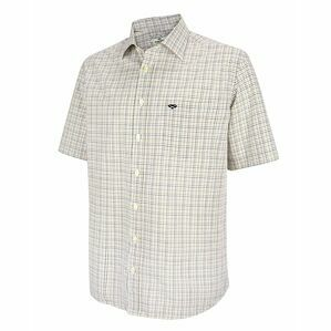 Hoggs of Fife Muirfield Short Sleeve Shirt in Olive/Blue Check