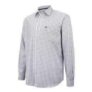 Hoggs of Fife Turnberry Twill Cotton Shirt in White/Navy Check