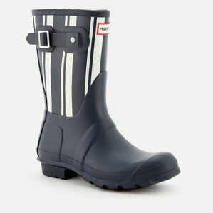 Hunter Original Garden Stripe Short Wellington Boots in Navy & White