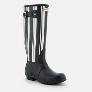 Hunter Original Garden Stripe Tall Wellington Boots in Navy & White