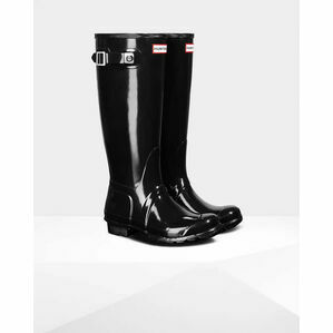 Hunter Original Tall Gloss Wellington Boots in Black