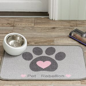 Pet Rebellion Dinner Mate Dog Mat - Pink Heart