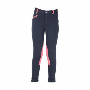 HyPERFORMANCE Belton Children\'s Jodhpurs - Navy/Salmon Pink