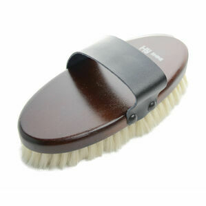 HySHINE Deluxe Goat Hair Wooden Body Brush - Dark Brown