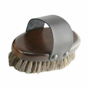 HySHINE Deluxe Horse Hair Wooden Body Brush - Dark Brown