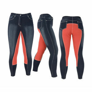 HyPERFORMANCE Denim Look Ladies Breeches - Denim/Red