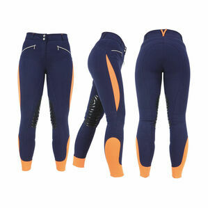 HyPERFORMANCE Sports Active Ladies Breeches - Navy/Orange