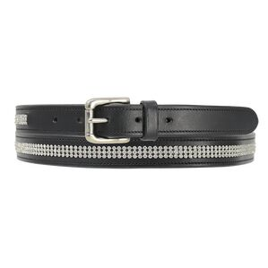 Hy Crystal Diamante Leather Belt - Black - Silver Diamante - 90cm