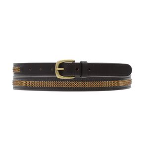 Hy Crystal Diamante Leather Belt - Brown - Gold Diamante