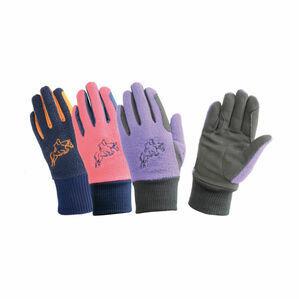 Hy5 Children's Winter Two Tone Riding Gloves - Navy/Raspberry