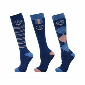 HyRIDER Signature Socks (Pack of 3) Marine Blue/Red - Adult 4-8