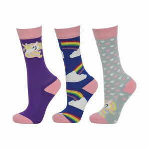 HyFASHION Unicorn Socks (Pack of 3) - Pink/Grey/Purple