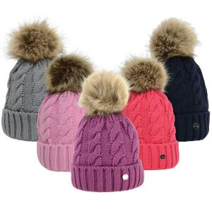 HyFASHION Melrose Cable Knit Bobble Hat - One Size