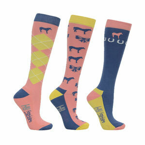 HyFASHION Newmarket Horse Print Socks (Pack of 3) - Yellow/Coral/Blue - Adult 4-8