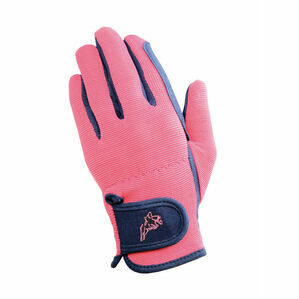 Hy5 Children's Every Day Two Tone Riding Gloves - Navy/Raspberry