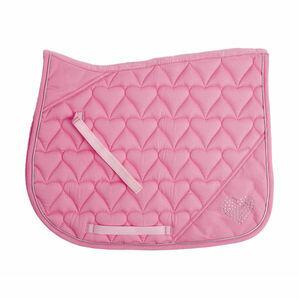 HySPEED Diamante All Purpose Saddle Cloth - Heart Pink/Silver Binding