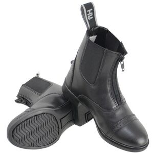 HyLAND York Synthetic Combi Leather Zip Jodhpur Boots - Black
