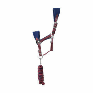 Hy Event Pro Series Head Collar and Lead Rope - Navy/Burgundy
