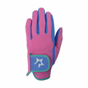 Hy5 Children\'s Zeddy Riding Gloves - Flamingo Pink/Cobalt Blue/Turquoise