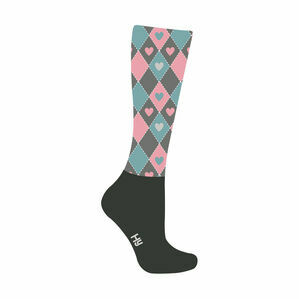 HyFASHION Heart Pattern Riding Socks - Teal/Pink/Black - Adult 4-8
