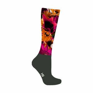 HyFASHION Flower Garden Pattern Riding Socks - Flower Print/Black - Adult 4-8