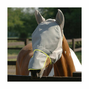 Field Relief Max Fly Mask - Grey with Yellow Binding - X Small