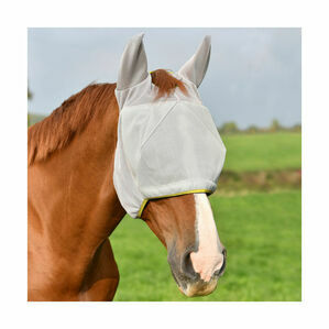Field Relief Midi Fly Mask (With Ears) - Grey with Yellow Binding