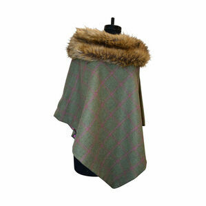 George & Dotty Tweed Mimi Cape - Light Olive & Raspberry - One Size