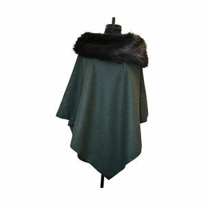 George & Dotty Tweed Irene Cape - Dark Green - One Size