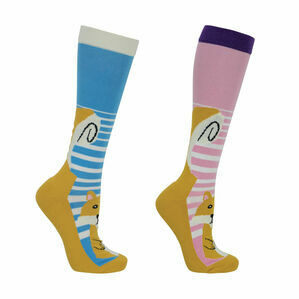 HyFASHION Mr Foxy Socks (Pack of 2) - Blue/Pink/Orange - Adult 4-8