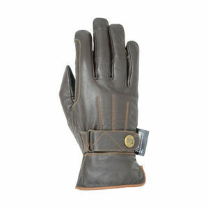Hy5 Thinsulate™ Leather Winter Riding Gloves - Dark Brown/Tan Stitch