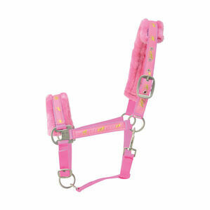 Hy Horse Print Faux Fur Padded Head Collar - Pink
