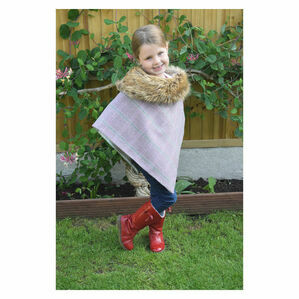 George & Dotty Serina Junior Tweed Cape - Rose Pink with Light Pink and Grey Check - 5-8 Years
