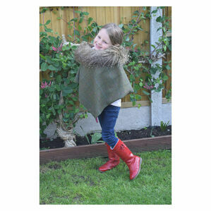 George & Dotty Anna Junior Tweed Cape - Winter Green with Tri-Colour Check - 9-12 Years