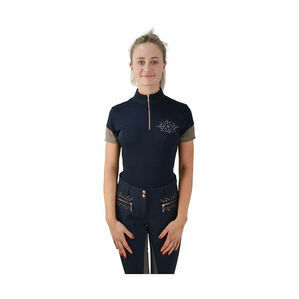 HyFASHION Kensington Ladies Sports Shirt - Navy/Taupe/ Rose Gold