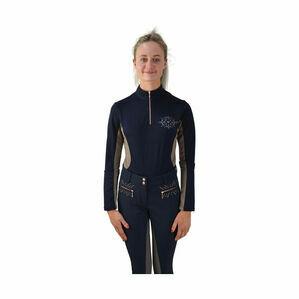HyFASHION Kensington Ladies Long Sleeved Sports Shirt - Navy/Taupe/ Rose Gold