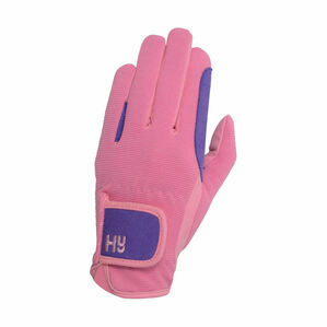 Hy5 Children\'s Two Tone Riding Gloves - Purple/Pink