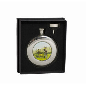 4.5oz Round Shooting Hip Flask in Presentation Box by Bisley