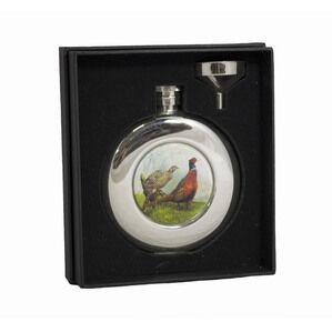 4.5oz Round Pheasant Hip Flask in Presentation Box by Bisley